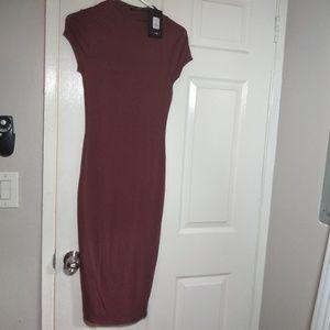 Cinnamon color bodycon midi dress